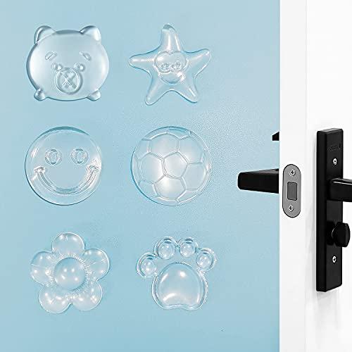 KEELYY 12 PCS Tope de Puerta Transparente Autoadhesivos Topes Elásticos, Protector de Goma para Paredes y Muebles, Reutilizable Topes Puertas Adhesivo para Doméstico y Oficina (6 Formas)