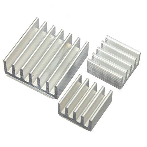 Kit de enfriador de radiador de disipador de calor de aluminio adhesivo 3 uds para enfriar nuevos ventiladores de disipador de calor Raspberry Pi