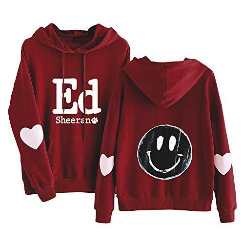 Ed Sheeran Pullover Sección Delgada Pullover Impresión Primavera Popular y Capucha Otoño Camiseta Larga de la Manga Mujeres (Color : Red01, Size : M)