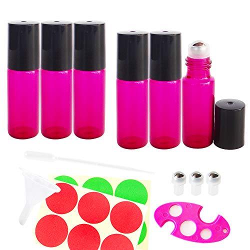 GreatforU Rote Rosa Kosmetik Roll On Flasche Leer 5ml, Roll-on Glasflaschen Klein mit Edelstahl-Roller Ball, für Make-up Ätherisches Öl, Aromatherapie-Gemische, Parfüm, Massage Flakon Behälter Reise