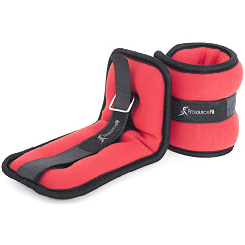 ProsourceFit Ankle Wrist Weights Set of 2, Adjustable Comfort Fit, 1.5 lb for Women, and Men, Red