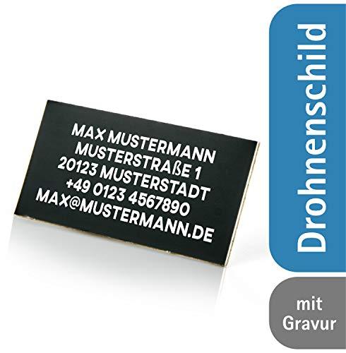 Schulz & Söhnlein Drohnen Kennzeichnung mit dauerhafter und feuerfester Beschriftung/ Plakette für Drohne - Drohnenkennzeichen feuerfest - schwarz