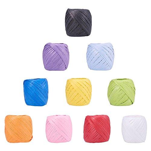 NBEADS 10Rollen von 21,9Meter Papier Kordeln Papier Craft Ribbon Bindfäden Taue Saiten für DIY Schmuck Machen, gemischte Farbe, 5- 7mm