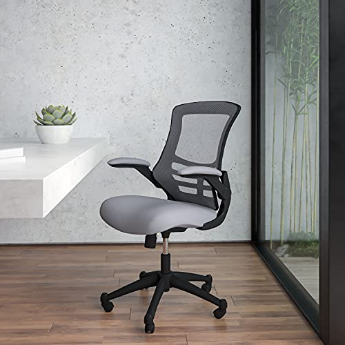 Flash Furniture Mid-Back Dark Gray Mesh Swivel Ergonomic Task Office Chair with Flip-Up Arms