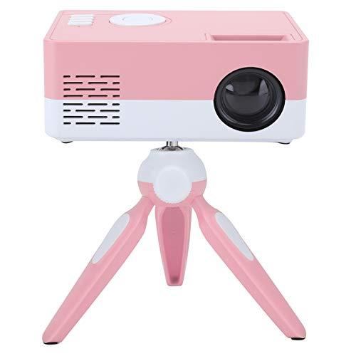 Snufeve6 Mini Proyector, Proyectores de Video Portátiles, Proyector Inteligente Casero 1080P, Proyector para Exteriores con Soporte, Proyector de Películas Compatible con Tarjeta Avaoami/Us8(Rosa)