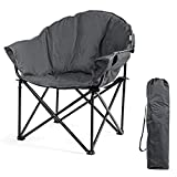 COSTWAY Folding Camping Chair with Cup Holder and Carry Bag, Lightweight Portable Leisure