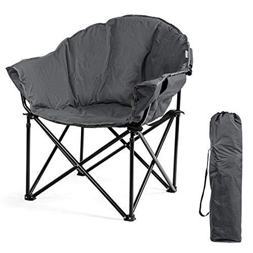 Comfy noir rembourré pliant Lune Chaise Extérieur Camping Plage Jardin Pêche Nouveau