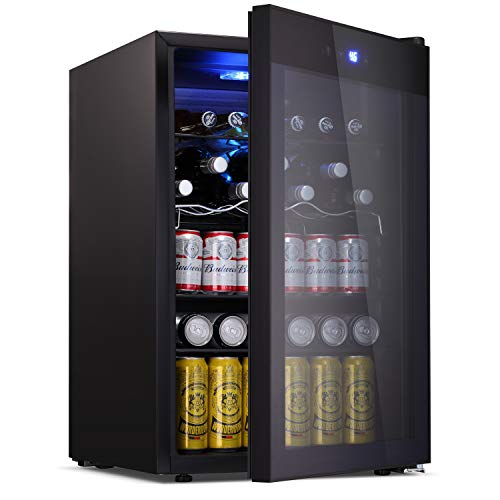 BOSSIN Beverage Refrigerator and Cooler, 120 Can Capacity with Smoky Gray Glass Door for Soda Beer or Wine,Compressor Touch Panel Digital Temperature Display for Home, Office, Bar(4.5 cu.ft)