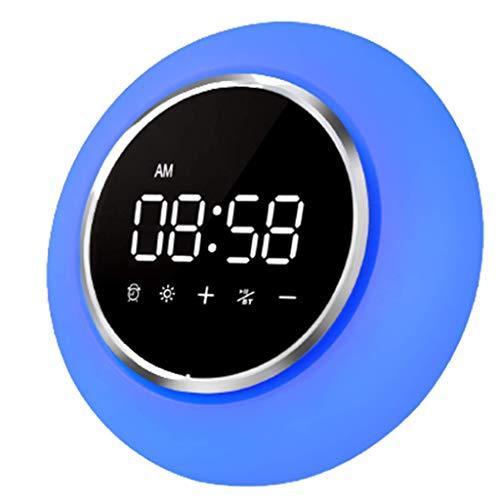 PBTRM Reloj Despertador Digital Lámpara Inteligente Multifuncional, 7 Cambios Color, Altavoz Bluetooth Inalámbrico, 6 Tipos Sonidos La Naturaleza Y Sonido Radio FM, Función Repetición
