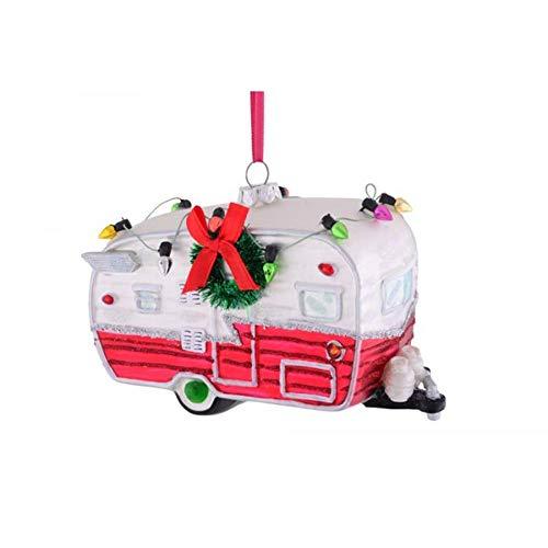 Gift Company - Hänger - Christbaumschmuck, Baumschmuck - Caravan, Wohnwagen Rot - Glas - (LxHxT): 13 x 9,1 x 6 cm