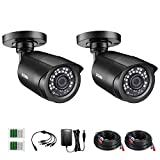 ZOSI 2 Pack 2MP 1080p HD-TVI Home Security Camera Outdoor Indoor 1920TVL, 24PCS LEDs, 80ft Night Vision, 90°View Angle, Weatherproof Surveillance CCTV Black Bullet Camera (2AK-1062B-BS-US)