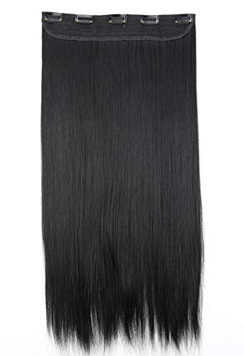 PRETTYSHOP Clip In Extensions Haarverlängerung Haarteil Glatt 60cm schwarz #1 C51