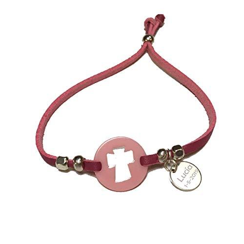 Lote 10 pulseras antelina con cruz para comunion/bautizo, PERSONALIZADA con texto que quieras (Rosa, Pequña)