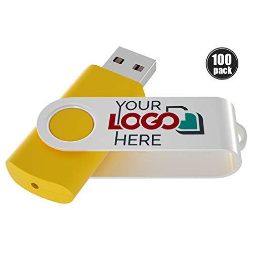 Possibox Memoria USB Giratoria Personalizada 1GB para Publicidad Pendrive con Logotipo/Texto - Promociónal por Mayor - USB 2.0 Amarillo, 100 Piezas