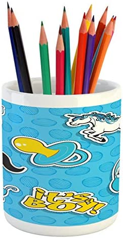 Ambesonne Gender Reveal Pencil Pen Holder Its a Boy Lettering Mustache Unicorn Pacifier Printed product image