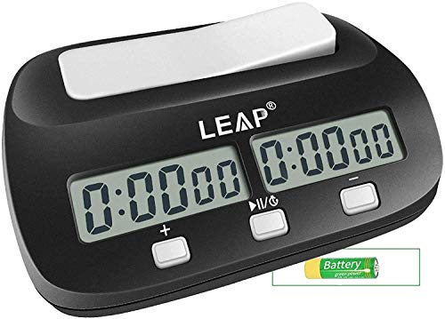 LEAP Chess Clock Digital Chess Timer Professional for Board Games Timer with Alarm Function Black (Official Store)