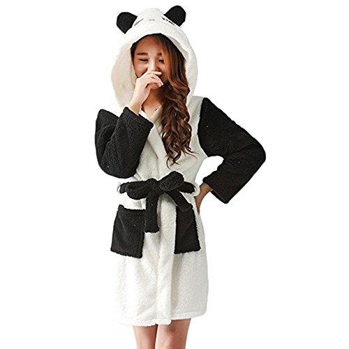 Mystery&Melody Kinder Einhorn Bademantel Flanell Mit Kapuze Süss Schlafanzug Cosplay Kostüme Tiere Ankleiden Unisex (S:145-156CM, Panda)