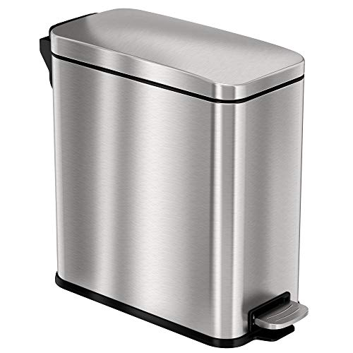 iTouchless SoftStep 3 Gallon Slim Bathroom Step Trash Can with AbsorbX Odor Filter & Removable Inner Bucket, Pedal Stainless Steel Garbage Bin for Bathroom, Bedroom, and Business Office Cubicle