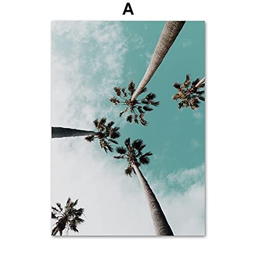JHGJHK Exquisito árbol Playa Rosa Abstracta geométrica Chica Arte de la Pared Lienzo Pintura Carteles nórdicos e Impresiones decoración de la Sala de Estar Pintura de Pared