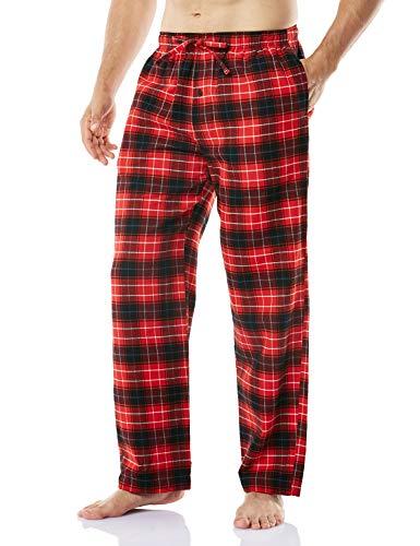 CQR Herren Schlafanzughose, 100% Baumwolle, Kordelzug Freizeithose, Flanell kariert, weiche Schlafhose mit Taschen, Hpj100 1pack - Red & Navy, XXL