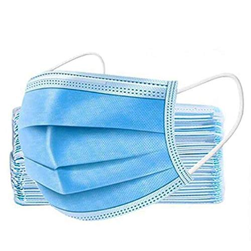 50Pcs 3Ply Disposable Face, 3 Ply Facial Cover with Ear Loop, Breathable Blocking Air Pollution Anti-Dust Non-Woven Mouth Cover Face Masks, Mouth Protector Prevent Sneeze Droplets