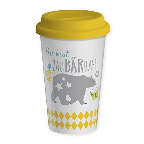 Die Geschenkewelt 43579 Becher mit Bär und Spruch Du bist zaubärhaft, Porzellan, 43 cl, mit Silikon-Deckel, gelb, pastell-farben