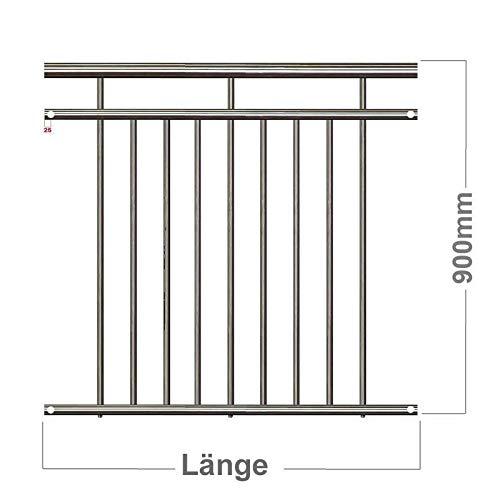 Edelstahl V2A Französischer Balkon Franz Geländer Stabgeländer Außenbefestigung System (260 x 90 cm ohne Holzständerbauweise)