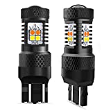 AUXITO White/Amber 7443 7440 7444 Switchback LED Bulbs with Projector for Turn Signal Lights and DRL/Parking Lights (Pack of 2)