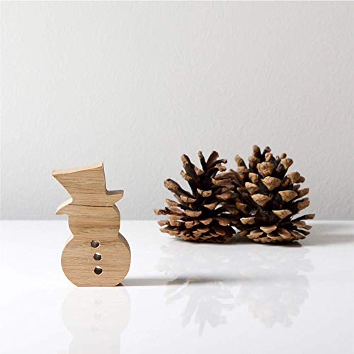 Schneemann aus Holz zum Aufstellen - Holzschneemann, Holzdeko für den Tisch, die Fensterbank oder Kaminsims oder zum Verschenken
