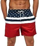 SILKWORLD Men's Board Shorts Swim Trunks Quick Dry Summer Beachwear with Pockets,American Flag,Large