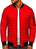 BOLF Hombre Chaqueta de Entretiempo Bomber Cazadora Ropa de Abrigo Cierre de Cremallera Cuello Elevado Estilo Deportivo J.Style MY-02 Rojo L [4D4]