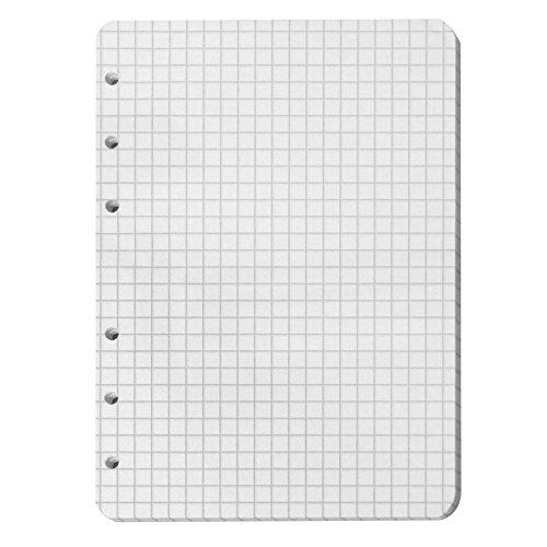 Ringbucheinlage, DIN A6 Format 105 x 148 mm, 50 Blatt Papier, kariert, weiß