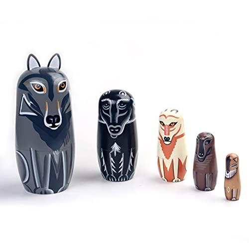 FEANG Muñecas rusas de anidación de 5 piezas de muñecas rusas hechas a mano de lobo de madera Matryoshka muñecas de anidación para niños, Navidad, cumpleaños, Halloween, juguetes hechos a mano