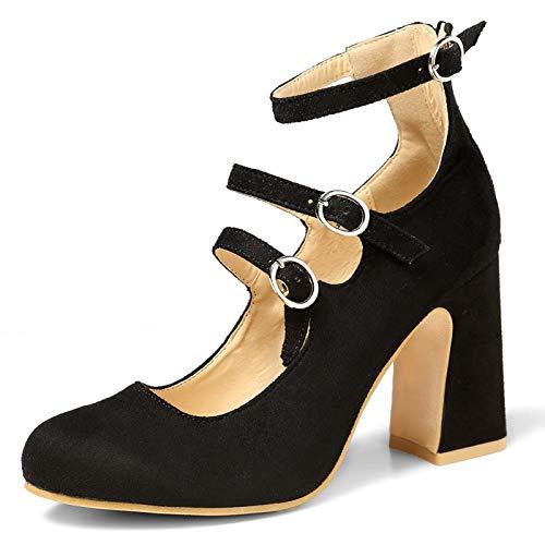 Enelauge Women's Fashion Three Buckle Closed-Toe Mary Jane Chunky High Heels Dress Pump Velvet Black 41-9 US