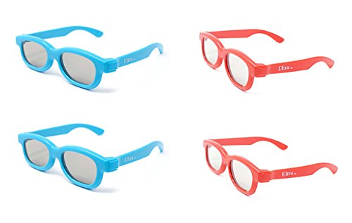 Ultra 2 Light Blue 2 Red Childrens Passive 3D Glasses Kids for Use with all...