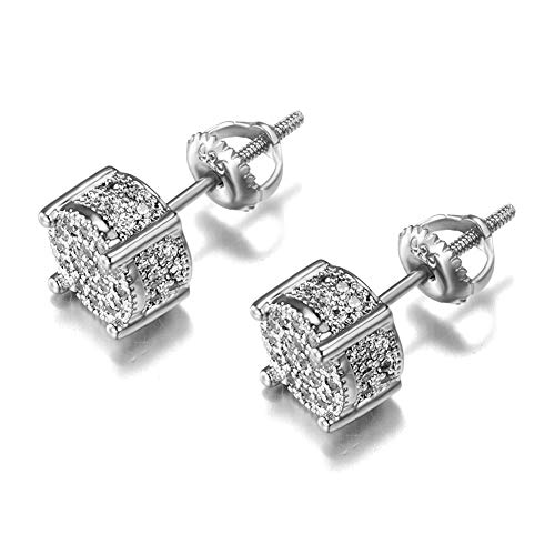 Cubic Zirconia Studs Earrings Sterling Silver Screw Back Sparkly Earrings For Men and Women Hypoallergenic Earring Aretes Para Hombre Senteria