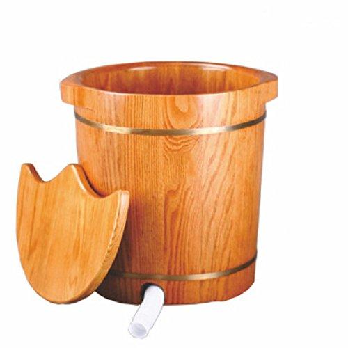 ANHPI Holzfuss Badefass Mit Deckel Und Drainage Fußbecken Gesundheitsmassage Durable Padded Foot Tub,B