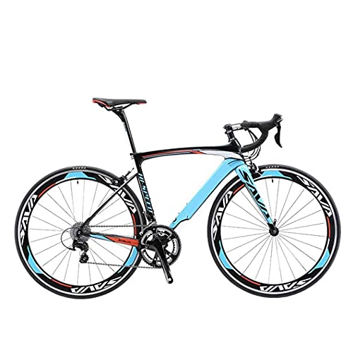 HUAQINEI 700C 3000 Bicicleta de Carretera de Fibra de Carbono Bicicleta de 18 velocidades Carreras de Carretera con Viento Roto Ultraligero, Azul