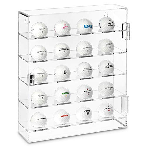 Ikee Design Acrylic Mountable Golf Balls Display Case Cabinet Wall Rack Holder, Acrylic Clear Display Rack Case, Clear Organizer Storage for 20 Golf Balls