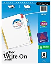 12 Pack Big Tab Write-On Dividers w/Erasable Laminated Tabs, Clear, Set of 8 by AVERY-DENNISON (Catalog Category: Binders & Binding Supplies / Indexes / Dividers)
