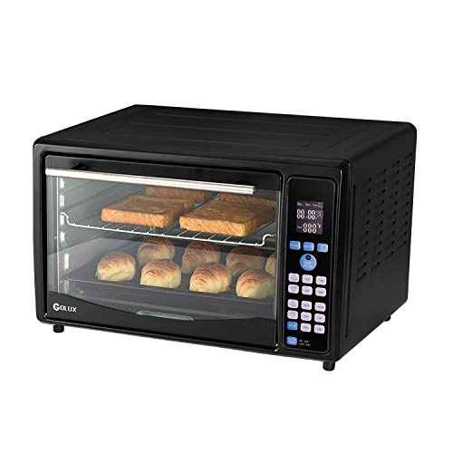 GOLUX Multi-Use Large Convection Countertop Toaster Ovens 27QT with Dehydrator Machine for Grill Bake Turkey Pizza Bread Cookies Reheat Dehydrate,5 Drying Trays Digital Temperature Controls and Timer