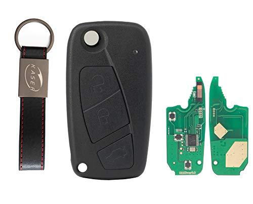 Chiave Telecomando con Scheda Elettronica 3 Tasti per Fiat Punto Ducato Stilo Panda (433 Mhz ID46 PCF7946 Chip) Transponder con Portachiavi KASER