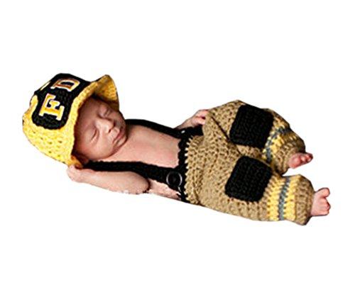 Pinbo Newborn Baby Photo Prop Crochet Firefighter Fireman Hat Pants Suspenders