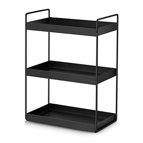 3-Tier Bathroom Countertop Organizer Vanity Tray Cosmetic & Makeup Storage Kitchen Spice Rack Standing Shelf, Black