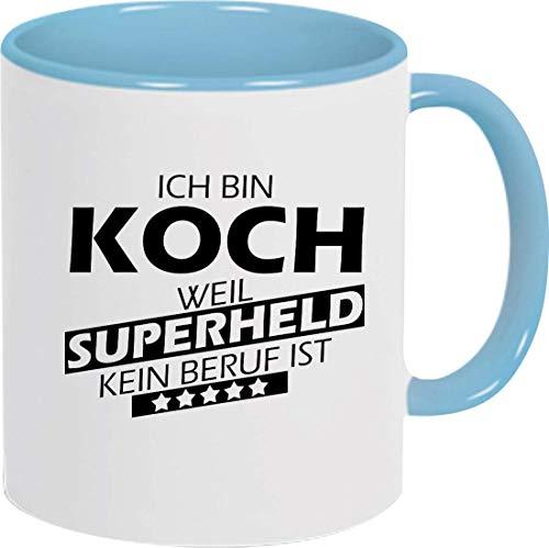 Shirtinstyle Taza de Café, Yo Bin Cocinero Weil Super Héroe Ninguno Ocupación Es, Ocupación Formación Cierre, Logo, Dicho, Motivo - Taza Azul Claro
