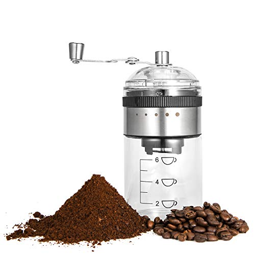 MICOCAH Manual Coffee Grinder with Adjustable Setting, Burr Grinder for Coffee Beans, Hand Coffee Grinder Mill with Ceramic Burr, Portable Hand Crank Coffee Bean Mill for Home Use, Camping
