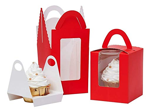 Red Cupcake Boxes Clear Display Window with Handle and Insert Individual Cupcake Box Single Cupcake To Go Container Gift Containers for Party Favors (50, Red)