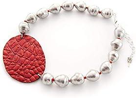 Collar corto mujer de perla artificial con óvalo de piel hecho a mano. Gargantilla de perlas barrocas grises y piel,...