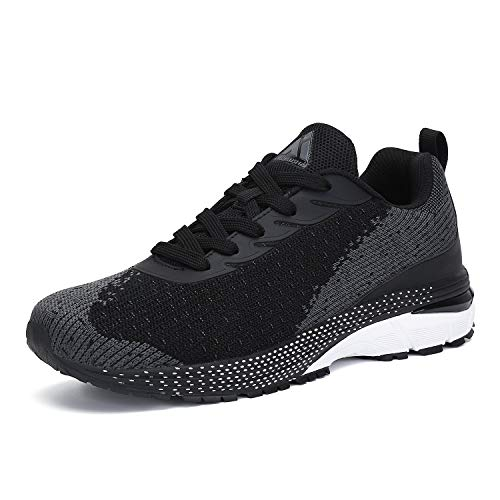 Mishansha Black Workout Shoes for Women Non Slip Running Tennis Shoes for Mens 6.5 & Women 8.5
