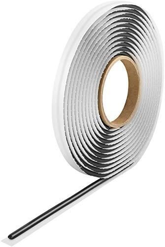 Poppstar Butylrundschnur Klebeband (5 m x 6 mm) Dichtband selbstklebend, rund, schwarz